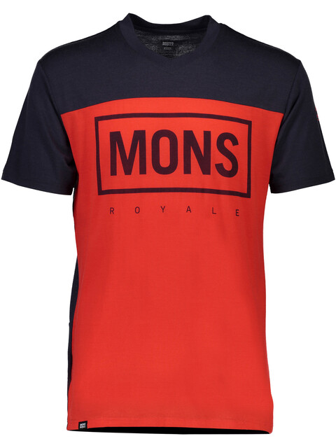 Mons Royale M's Redwood MR Box V-Neck T-Shirt Bright Red/9 Iron